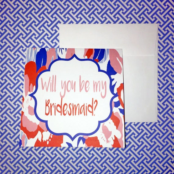 SALE Bridesmaid card, Will you be my bridesmaid card, bridesmaid gift, colorful engagement card, floral print greeting card, bride tribe