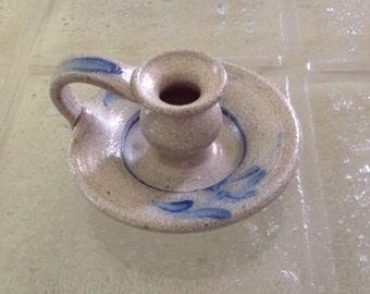 Candlestick, Candle Holder, Rowe Pottery Works Salt Glazed Candle Holder, Gray and Cobalt Blue, Vintage 1980s
