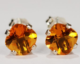 Citrine Earrings~.925 Sterling Silver Setting~6mm Cushion Cut~Genuine Natural Mined