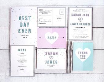 Printed Wedding Stationery Set 'Confetti'