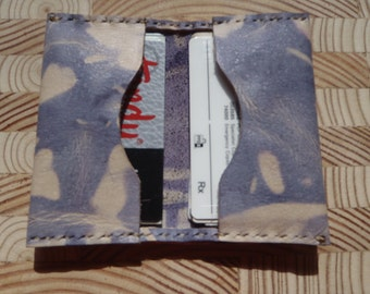 Handmade Purple Tie Dye Leather Card Case, Minimalist Wallet, Small Wallet, Money Holder. Hand Stiched, Hand Dyed