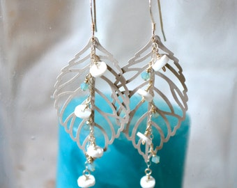 Leaf earring with shells and aquamarine crystals