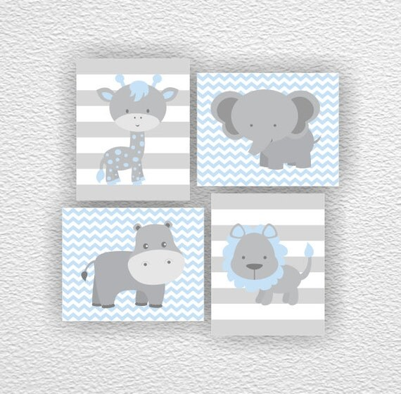 Blue and gray jungle animals elephant giraffe hippo lion for Babyzimmer set junge