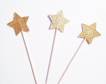 Gold Star Cupcake Toppers - Gold Glitter Stars - Star Cupcake Picks - Food Picks - Gold Stars - Twinkle Twinkle Little Star - Cupcake Topper