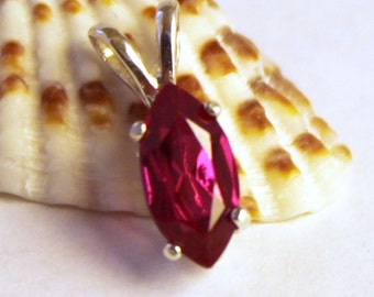Ruby, Ruby Pendant, Sterling Silver, Ruby Necklace, Silver Necklace, Gemstone Necklace, Marquise, July Birthstone, Red Necklace