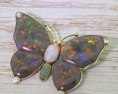 Mid Century Black, Grey & Green Opal Butterfly Brooch, circa 1950