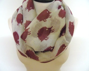 Hedgehog print infinity scarf, cowl scarf, hedgehog scarf, winter scarf, print scarf women, hedgehog infinity scarves, fashionable scarves