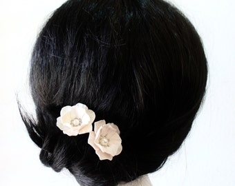 White Flower - Wedding Hair Accessories, Bohemian Wedding Hairstyles Hair Flower - Set