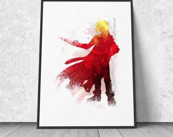 Edward Elric, Full Metal Alchemist inspired, watercolor illustration, giclee art print, silhouette, anime, wall decor, FMA