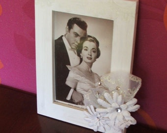 decorated wood photo frame, bridal frame