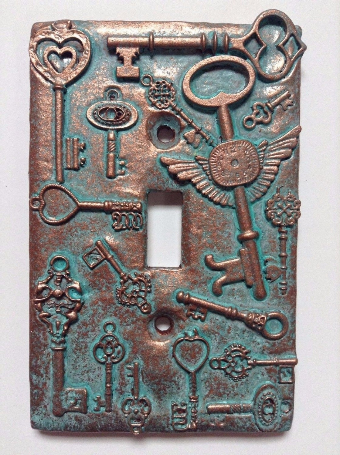 Keys Steampunk Stone Or Copper Patina Light Switch Cover
