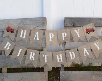 Fire Truck Birthday Banner- Fire Truck Party- Fireman Birthday- 1st Birthday- Fire Engine Birthday- Fire Truck Decor- Fire Engine Party
