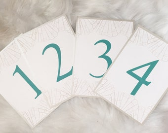 Silver and Turquoise, Double sided Table Numbers, Destination Wedding, Seashells