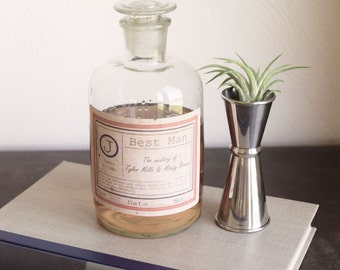 Glass whiskey decanter, alcohol decanter, best man, apothecary jars, apothecary bottles, scotch bottles, gifts for guys, fathers day, gift