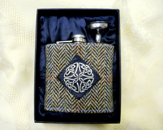 Scottish Wedding Gifts: Harris Tweed Hip Flask Brown Mens Gift Scottish Made In
