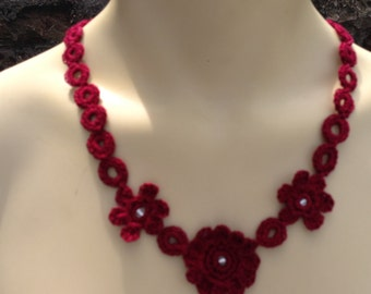 Hand Crocheted Burgundy Necklace
