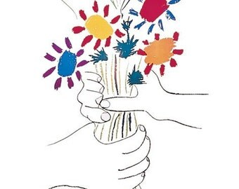 Pablo Picasso Petite Fleur Hands With Flowers 22 x 28 poster print