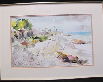 Vee J. Hill Watercolor Painting of Seashore Framed Behind Glass