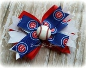 """Chicago Cubs Double Stacked Bow (OR smaller 3"""" pigtail set)"""