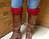 Boot cuffs, boot liners in red chunky cable; boot socks fall winter style christmas in july CIJ leg warmers, footwear, santa socks, crochet