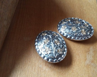 vintage oval silver metal clip on earrings