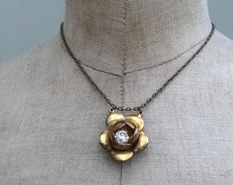 Vintage rose pendant upcycled