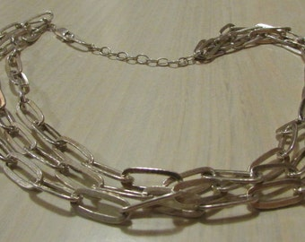 Sterling Silver 3 Strand Large Link Chain Necklace 18 1/2""