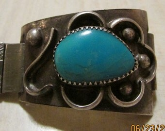 Sterling Silver and Turquoise Watch Band for Men