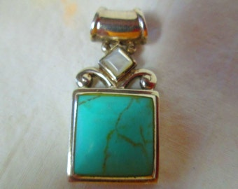 Vintage Sterling Silver Torquoise Necklace Drop Fob Mother of pearl top .925 Pendant