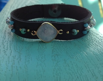 Leather and gemstone bracelet