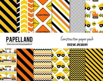 Construction Digital Paper Pack, for scrapbooking, Making Cards, Tags and Invitations / Instant Download