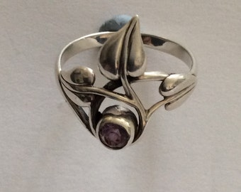 Silver amethyst celtic design statement ring
