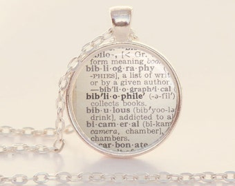 Bibliophile Dictionary Definition Necklace - Word Jewelry - Reader - Bookish Jewelry - Librarian Gift (B6011)