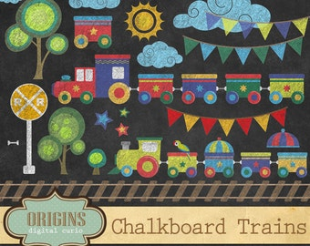 Chalkboard Trains Clipart - PNG Chalk Train Tracks, Rail Road, Circus Train Clip art Set Commercial Use Digital Instant Download