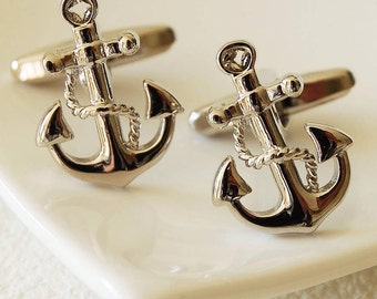 Solid Premium Anchor Cufflinks, Silver - Highest Quality - Gift Boxed - UK - Wedding