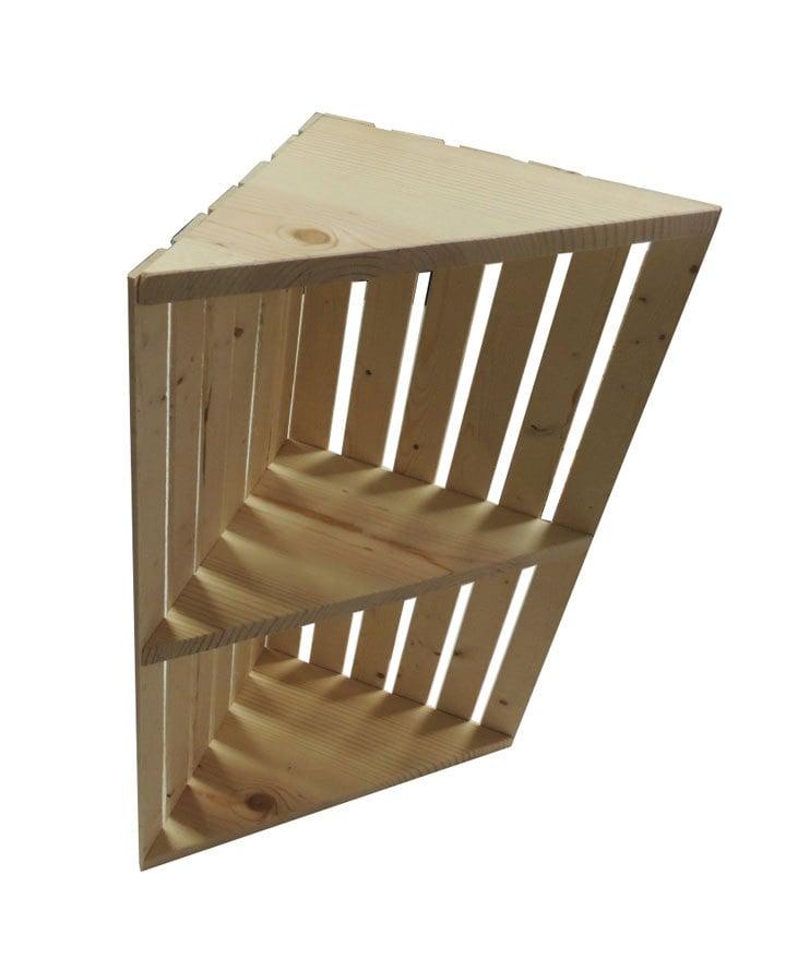 Rustic Wooden Crate Corner Shelf Un Assembled Kit by DWRogersSales