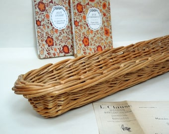 XL Woven Wicker French Bread Basket, French Vintage, Antique, Baguette baton pain proving basket serving, willow, bread container, handmade