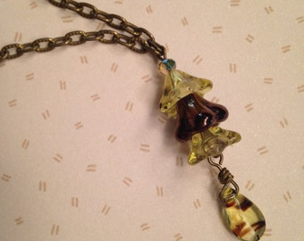 Brown and lemon-lime bellflower necklace