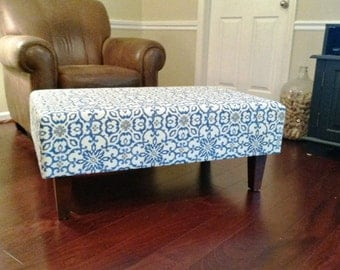 Upholstered Ottoman Coffee Table - Blue and Grey
