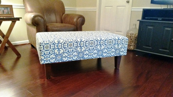 Upholstered Ottoman Coffee Table Blue And Grey