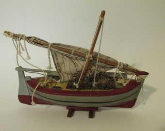 Wooden Model Fishing Boat