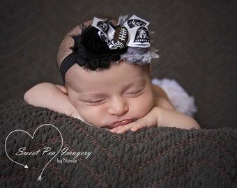 Oakland Raiders headband- Baby headband- Football headband- Sports headband- NFL headband