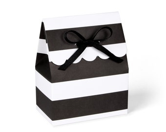 Favor boxes, Black and white favor bags, Black favor boxes, White favor boxes, Favour boxes, Black and white striped box, Set of 8