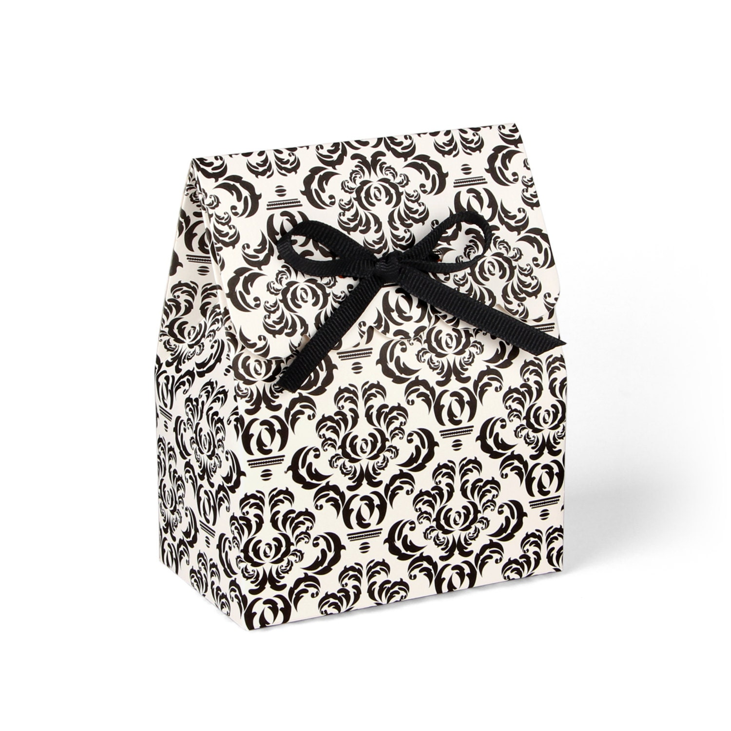 Damask Wedding Favor Boxes : Favor boxes black damask with ribbon set of