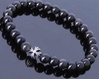 Handmade Men Women Gemstone Bracelet Black Obsidian 925 Sterling Silver Cross DiyNotion BR394