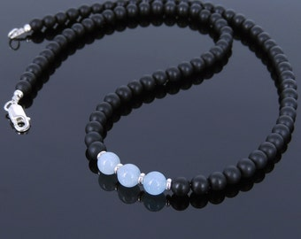 Men's Women Aquamarine Matte Black Onyx Sterling Silver Necklace Gemstone 925 Spacers Clasp DiyNoion Handmade NK026