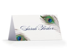 Personalised Peacock Passionate Place Cards - Peacock Place Cards - Place Cards for Weddings or Events by Paper Charms