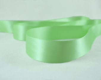 """Mint Green Ribbon, Double Faced Satin Ribbon, Widths Available: 1"""" (25mm) and 1/2"""" (12mm)"""