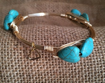 Wire Wrapped Bracelet - Heart Shaped Turquoise