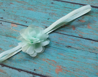Mint Green Headband, petite Mint Chiffon Flower Headband, Mint Newborn Headband, Baby Girl Headband, Photo Prop, Infant headband, mint green